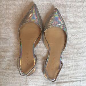 M.Gemi Silver Iridescent Hologram Slingback Flats